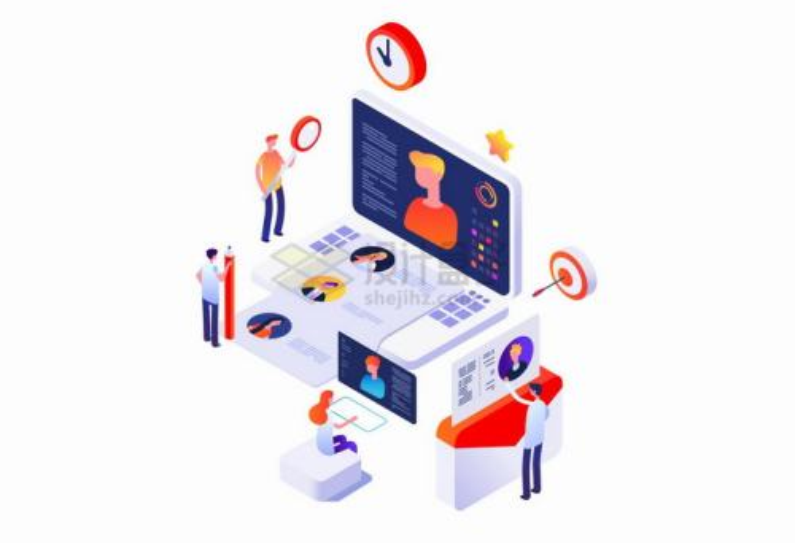 2.5D风格正在浏览应聘者信息的招聘人事在线招聘png图片免抠矢量素材