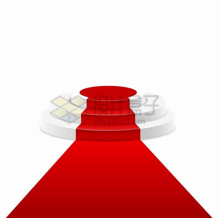 铺设红地毯的白色圆形三阶台阶圆形展台舞台png图片免抠矢量素材