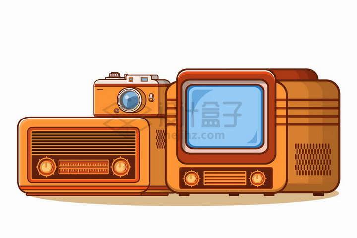 MBE风格卡通复古电视机收音机和照相机png图片免抠矢量素材