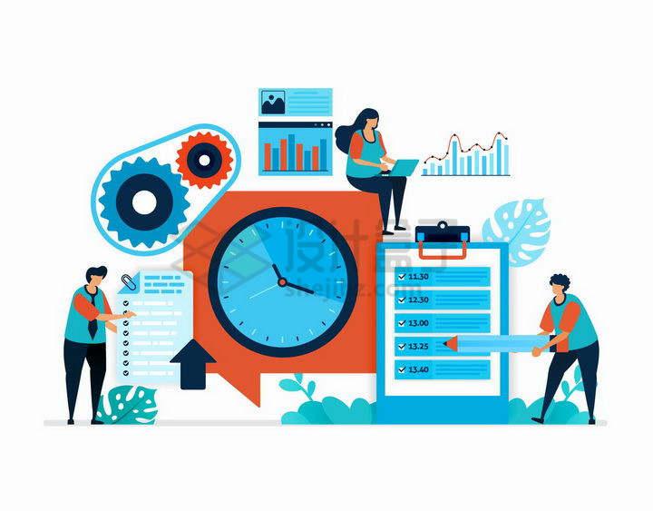扁平插画商务人士的日程安排和行程计划png图片免抠矢量素材