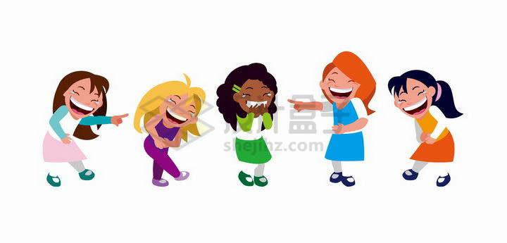 笑得飙出眼泪的卡通女孩png图片免抠矢量素材