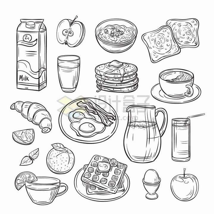 牛奶苹果奶昔面包咖啡煎蛋华夫饼等美味早餐手绘线条插画png图片免抠矢量素材