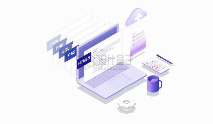 2.5D风格笔记本电脑显示的网页编程语言png图片免抠矢量素材