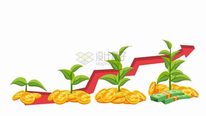 金币做泥土培育出来的树苗象征了投资的增长png图片免抠矢量素材
