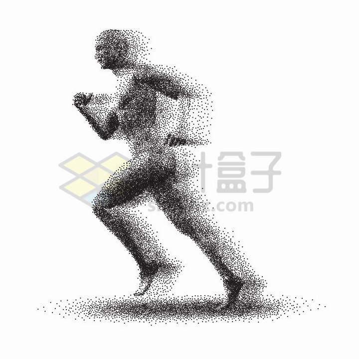 黑色小圆点组成的正在跑步的运动员png图片免抠矢量素材