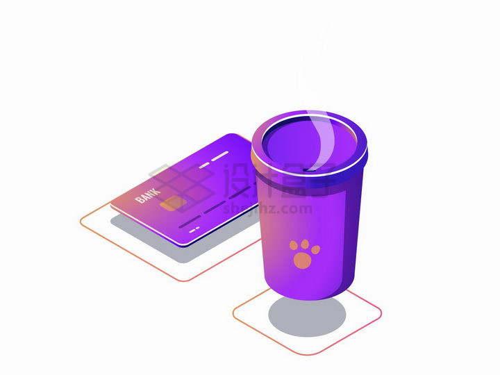 2.5D风格银行卡和咖啡杯象征了电子支付点餐png图片免抠矢量素材
