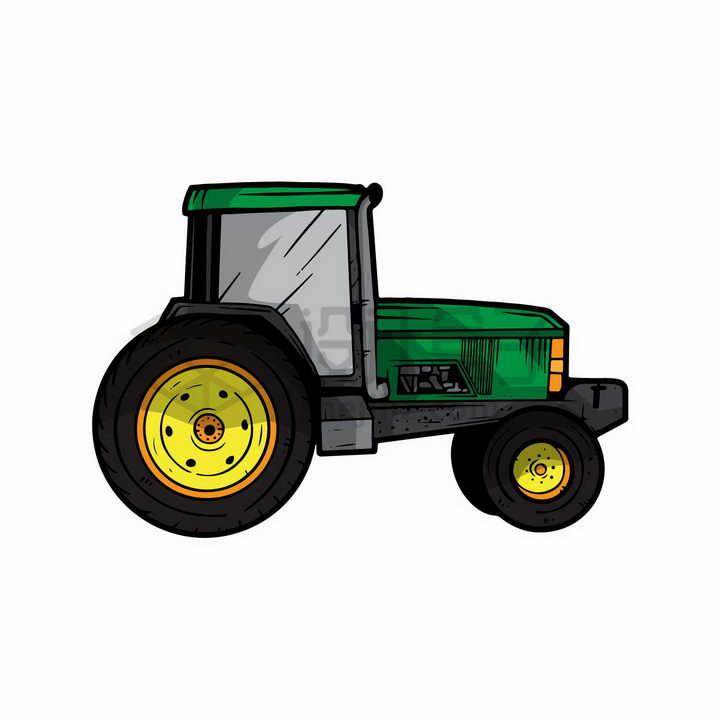 绿色拖拉机工程机械彩绘插图png图片免抠矢量素材