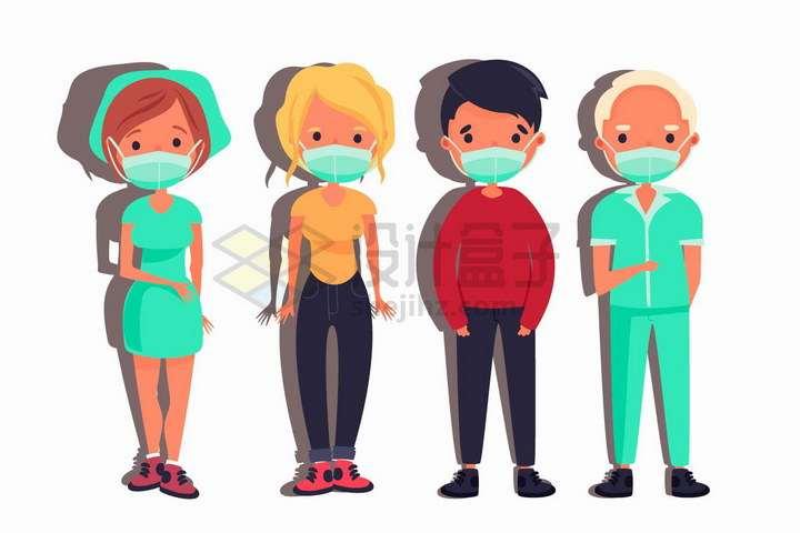 4款佩戴口罩的医生和患者png图片免抠矢量素材
