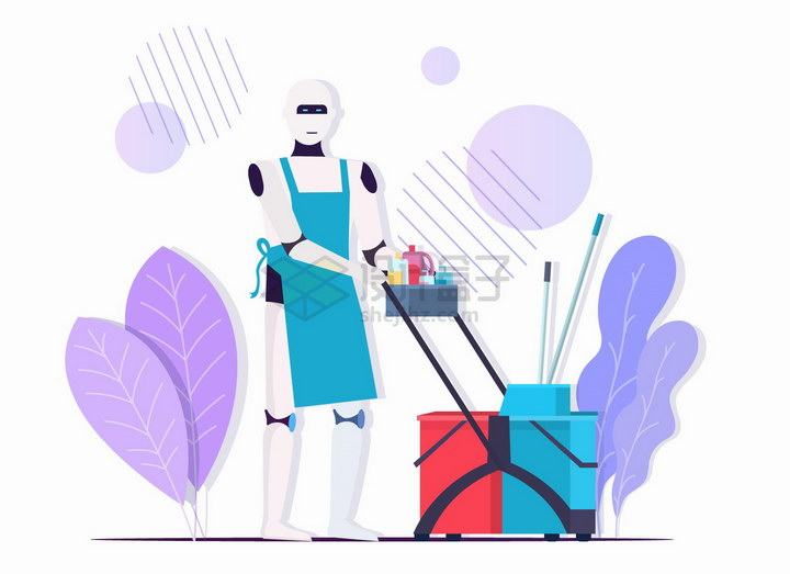 机器人打扫卫生清洁工未来科幻扁平插画png图片免抠矢量素材