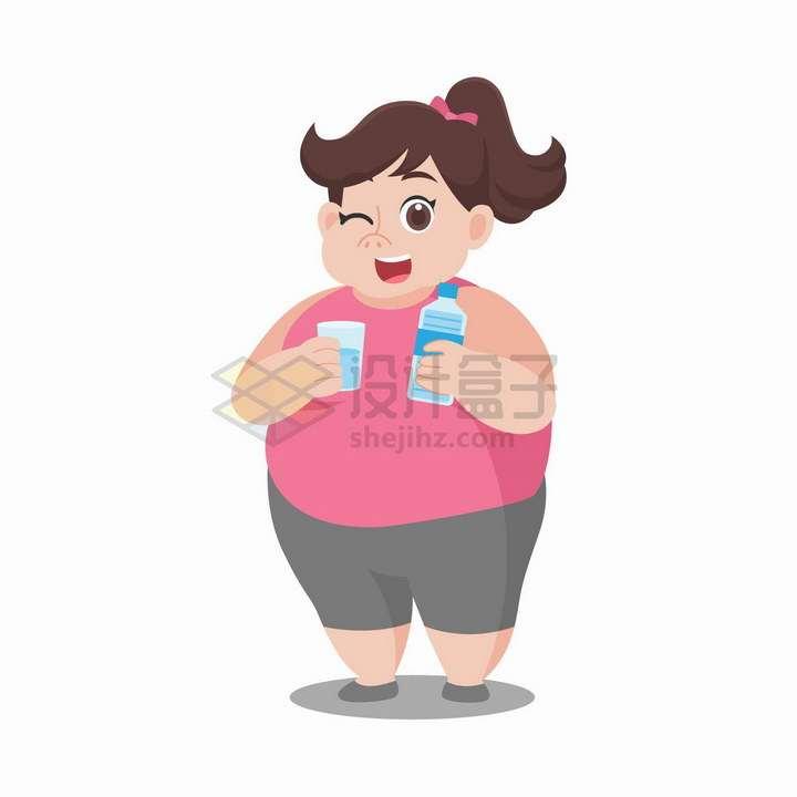 正在喝水的胖女孩减肥插画png图片免抠矢量素材