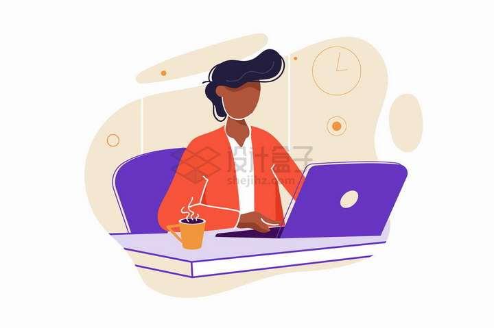 坐在办公桌前操作笔记本电脑的商务人士扁平插画png图片免抠矢量素材