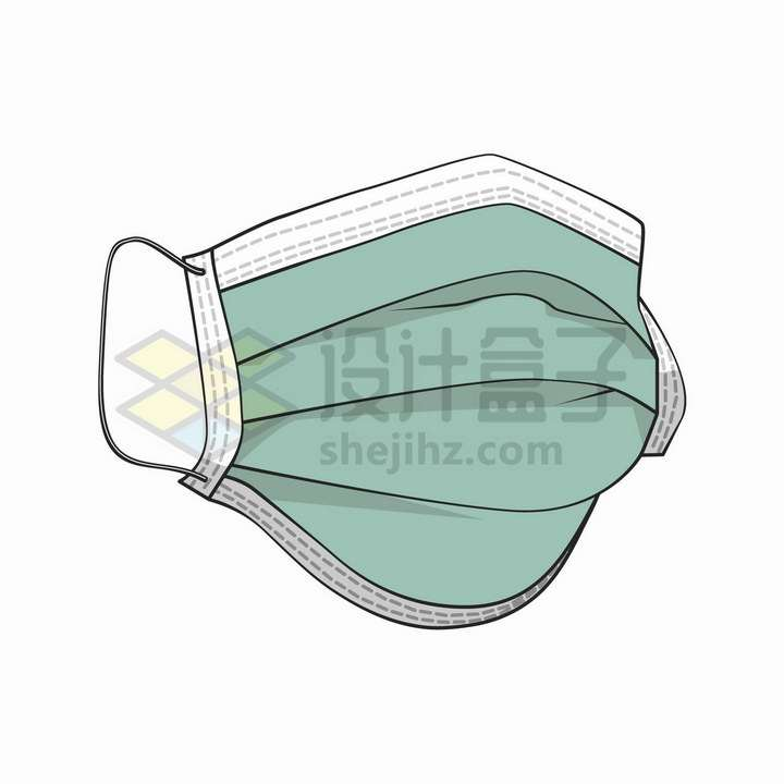 手绘风格绿色一次性医用口罩png图片免抠矢量素材