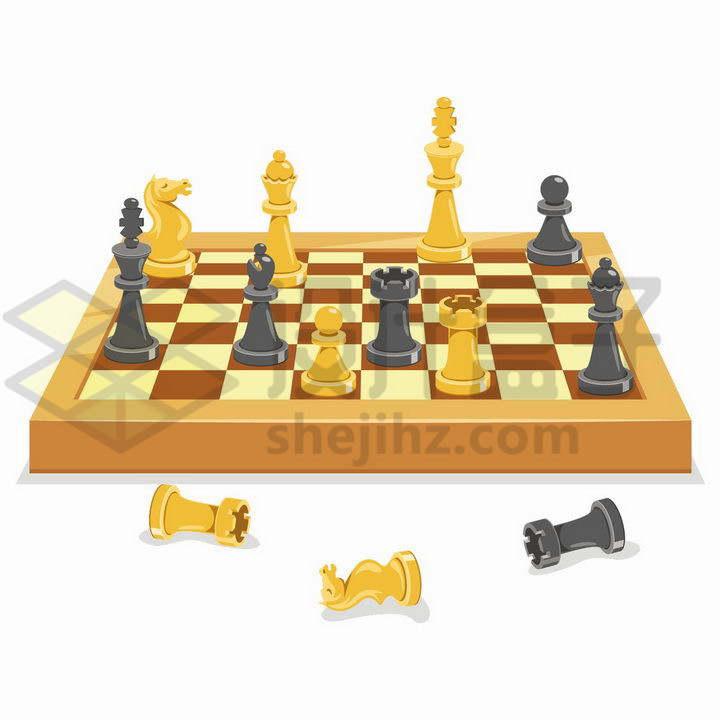 2.5D风格黄色的棋盘和国际象棋棋子png图片免抠矢量素材