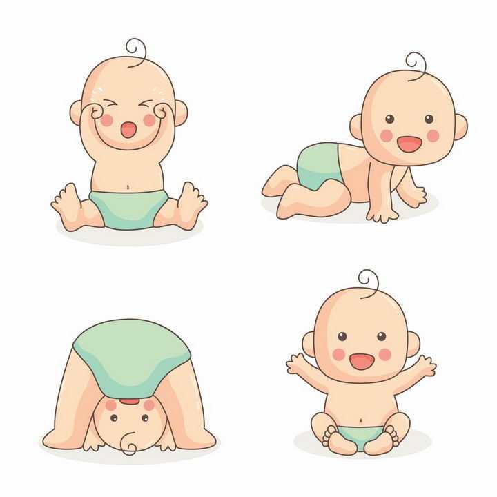 4款超级可爱的坐在地上哭泣学爬求抱抱的小宝宝婴儿png图片免抠素材