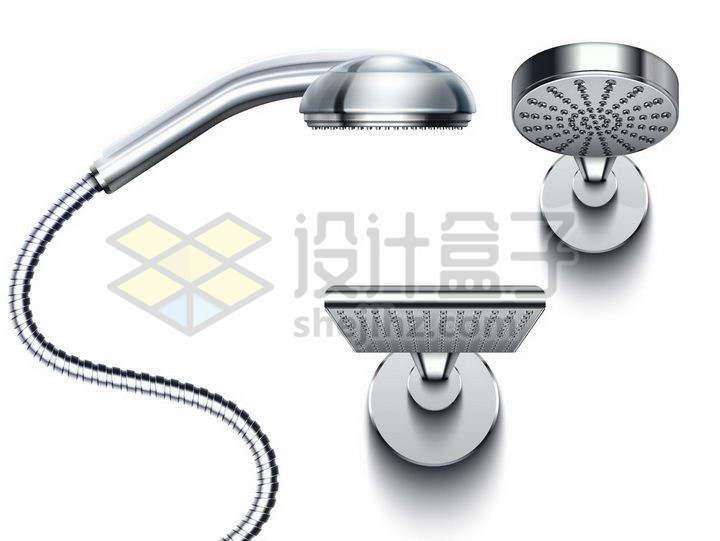 3款金属银色淋浴喷头花洒莲蓬头卫生间设施png图片免抠矢量素材
