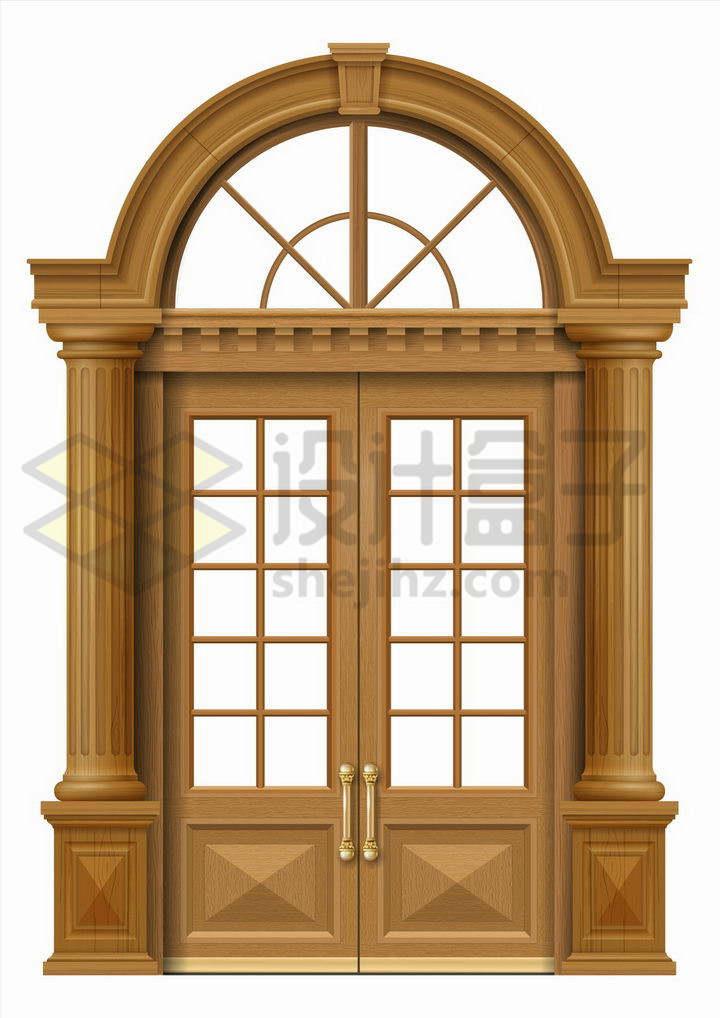 经典拱形木头大门png图片免抠矢量素材
