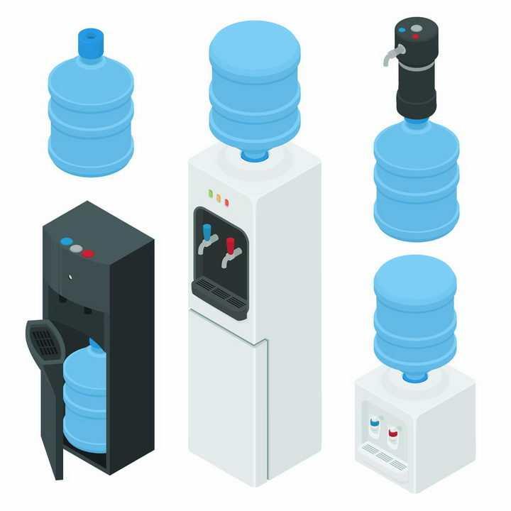 各种饮水机和桶装纯净水png图片免抠素材