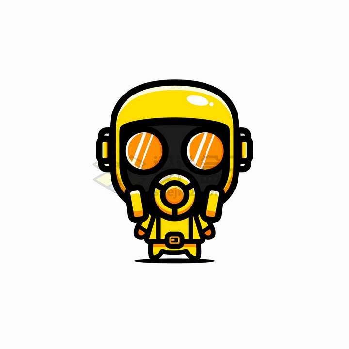 穿戴防护服防毒面具的卡通人物png图片免抠矢量素材