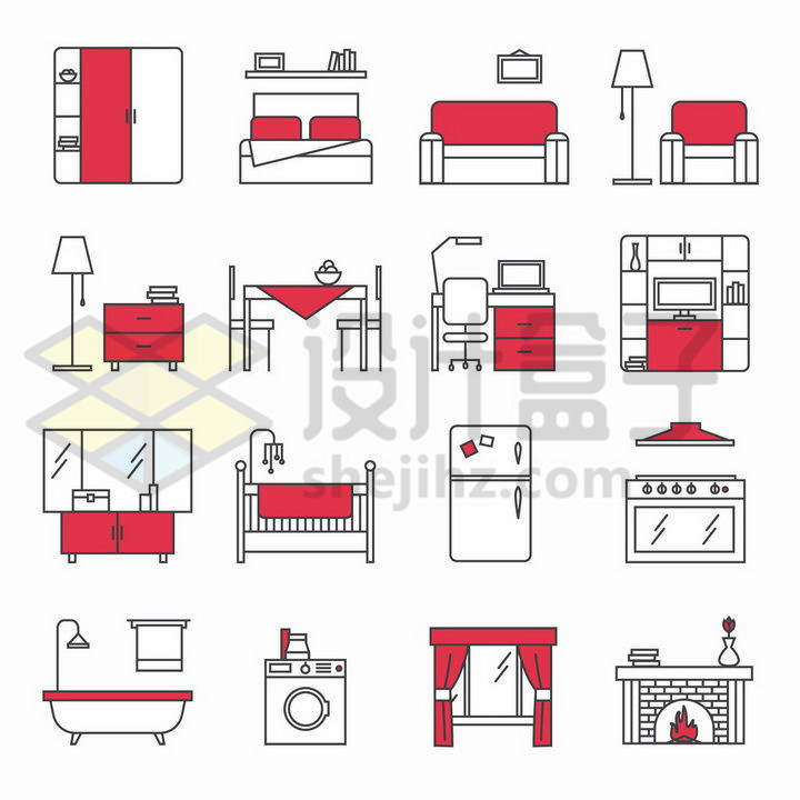 16款黑色线条红色配色橱柜大床沙发等家具png图片免抠矢量素材
