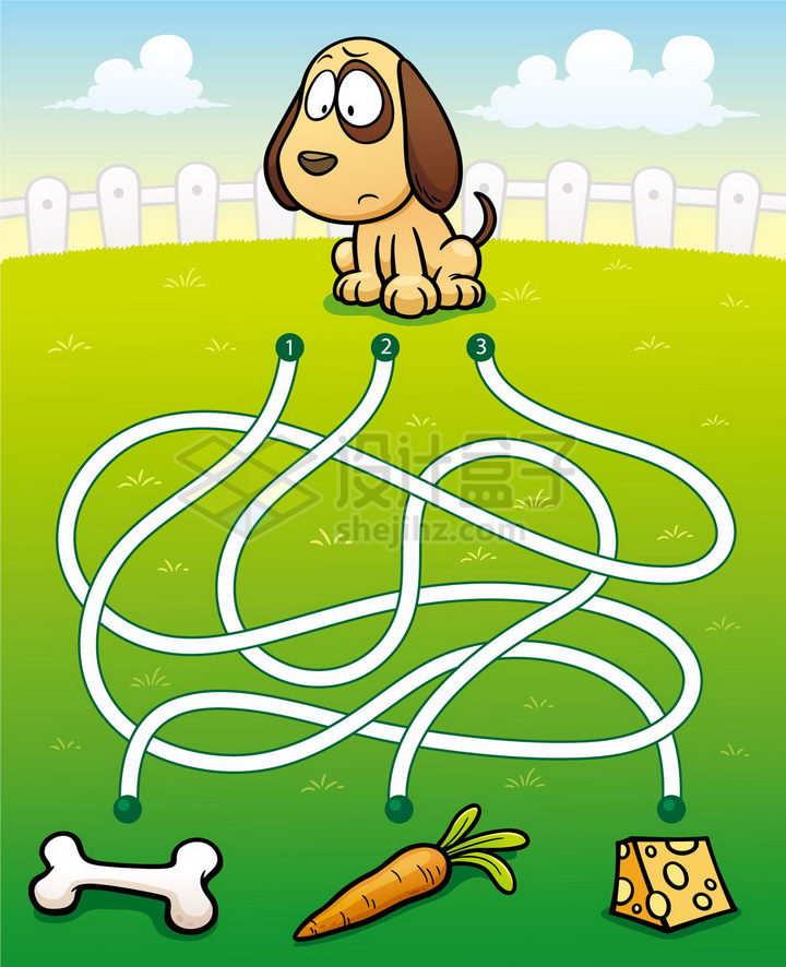 儿童益智游戏插图小狗吃什么迷宫幼儿游戏png图片免抠素材