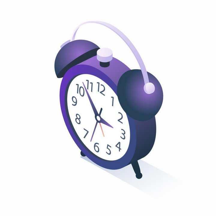 2.5D风格紫色闹钟png图片免抠矢量素材