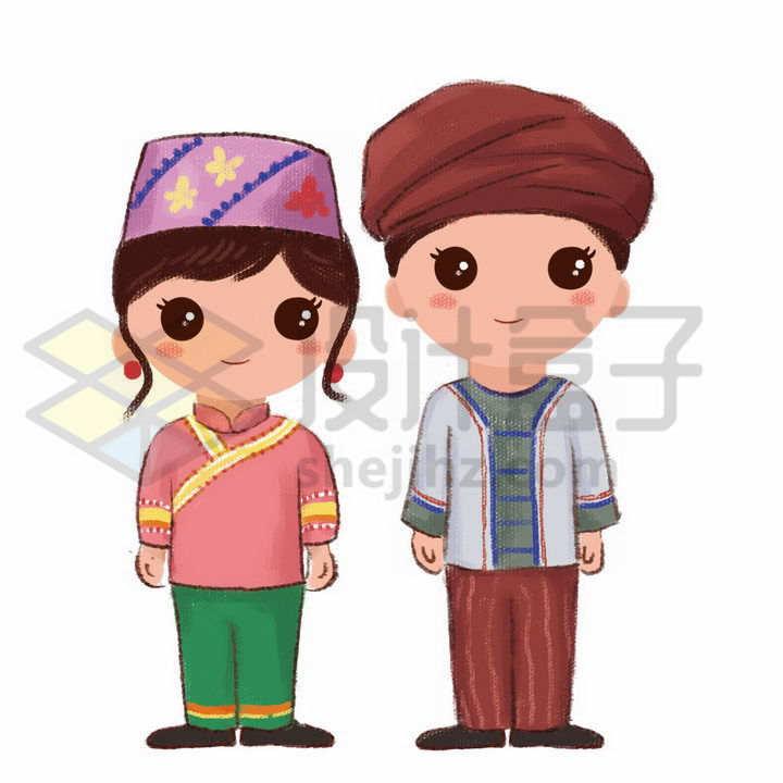 站立的卡通土家族少女少年传统服饰少数民族png图片免抠素材