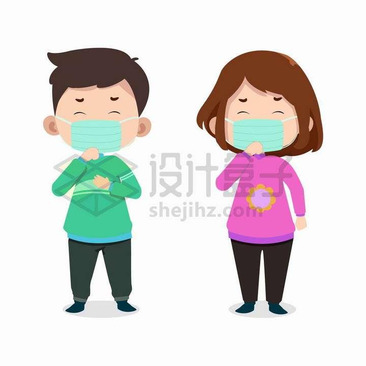 卡通男孩女孩戴口罩咳嗽png图片免抠矢量素材