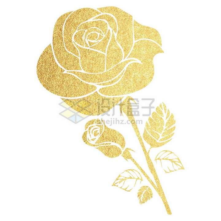 金色剪纸风格玫瑰花鲜花png图片免抠矢量素材