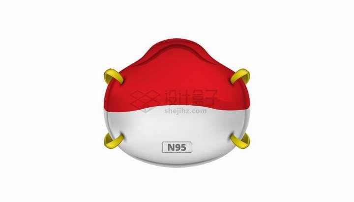 红色白色双色N95医用口罩png图片免抠矢量素材