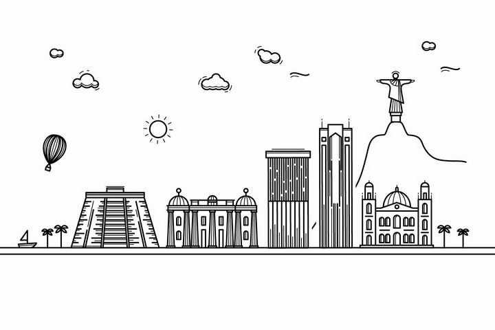 黑色线条手绘风格巴西里约热内卢城市建筑知名旅游城市天际线png图片免抠素材