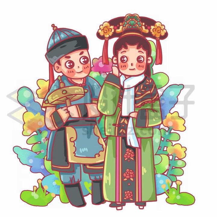 Q版卡通满族少女少年传统服饰少数民族png图片免抠素材