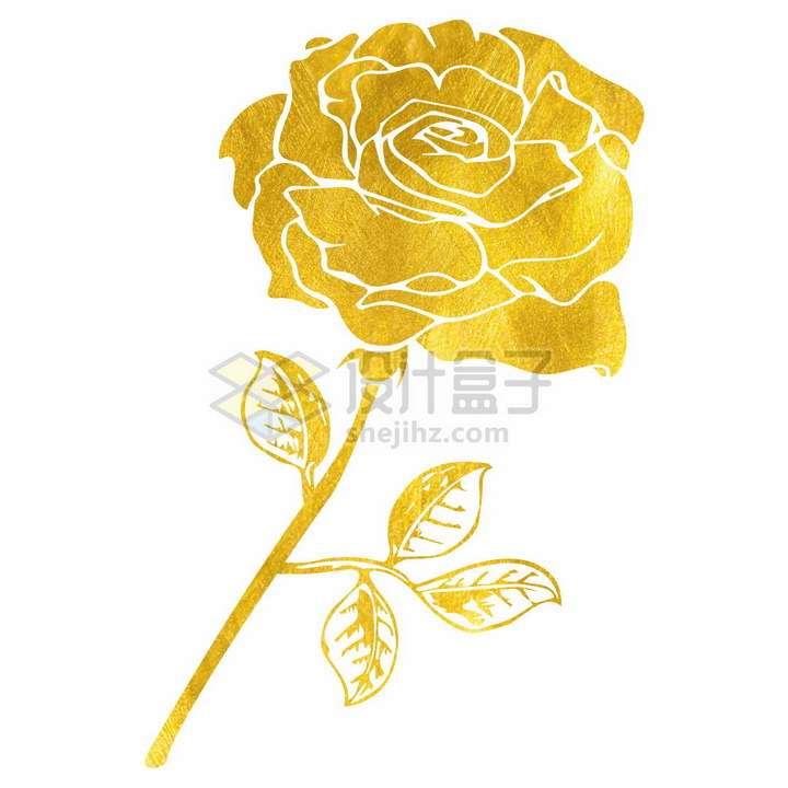金色剪纸风格带金叶的玫瑰花png图片免抠矢量素材