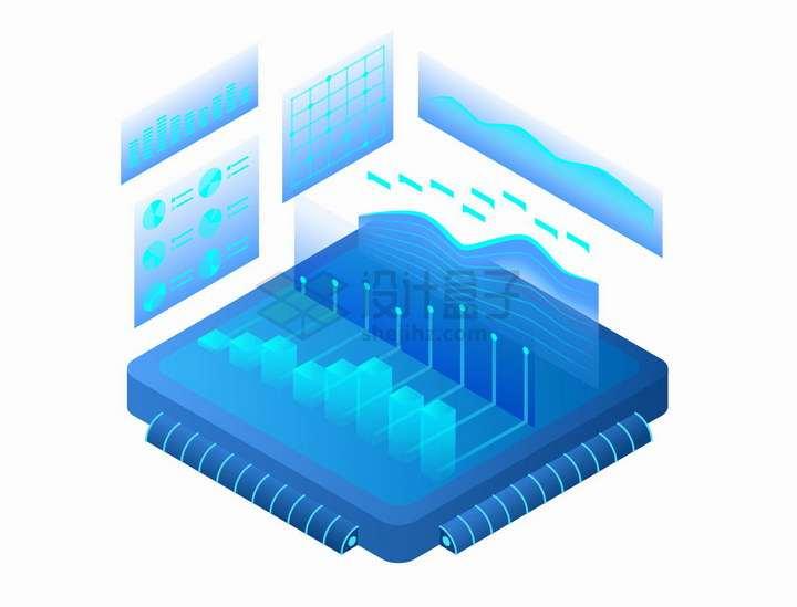 2.5D风格蓝色数据图表投影显示技术png图片免抠矢量素材
