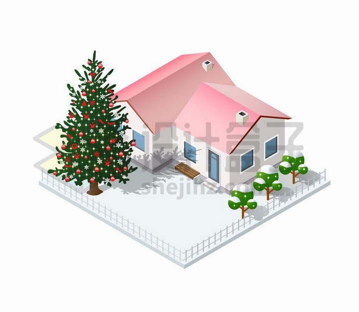 粉红屋顶有积雪的房子院子里有一棵圣诞树png图片免抠矢量素材