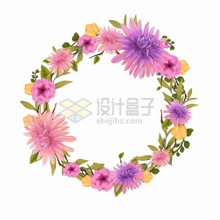 紫红色的菊花等花朵组成的婚礼花环文本框标题框png图片免抠矢量素材