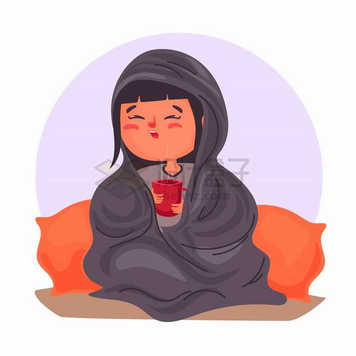 感冒了裹着被子端着热茶的卡通女孩png图片免抠矢量素材