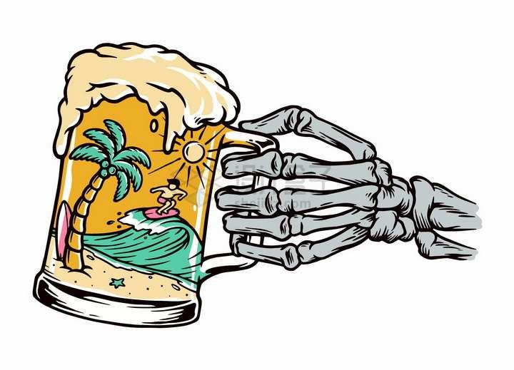 抽象骷髅手拿着的啤酒杯中在海滩上冲浪的人手绘插画png图片免抠矢量素材