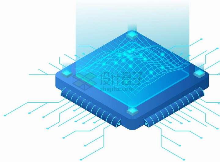 2.5D风格蓝色网格数据投影显示技术png图片免抠矢量素材
