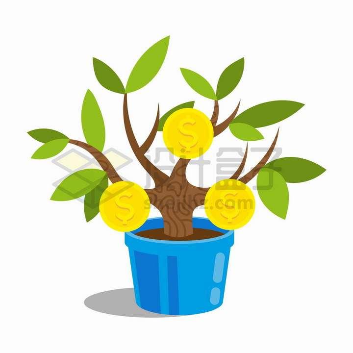 花盆里长出金币的发财树摇钱树盆栽png图片免抠矢量素材