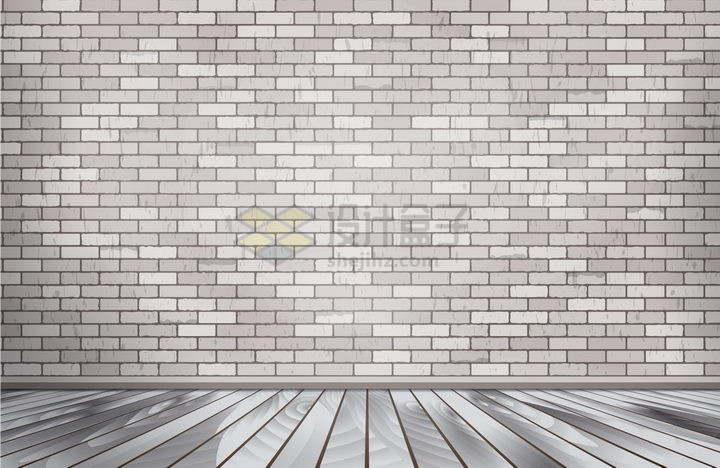 灰白色木板地面和砖墙壁背景图png图片免抠矢量素材