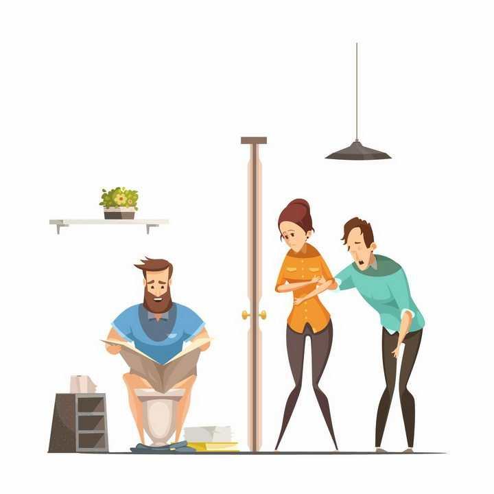 卡通排队上厕所和在厕所里悠闲看报的人png图片免抠矢量素材