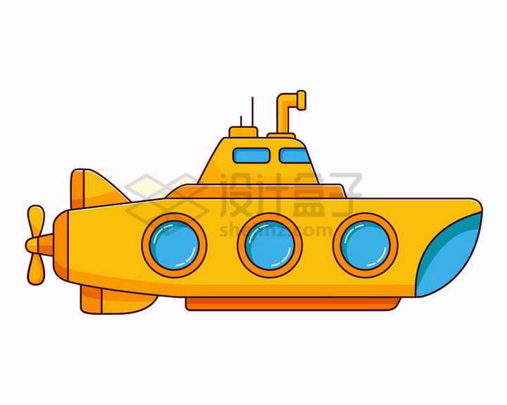 MBE风格卡通黄色潜水艇png图片免抠矢量素材