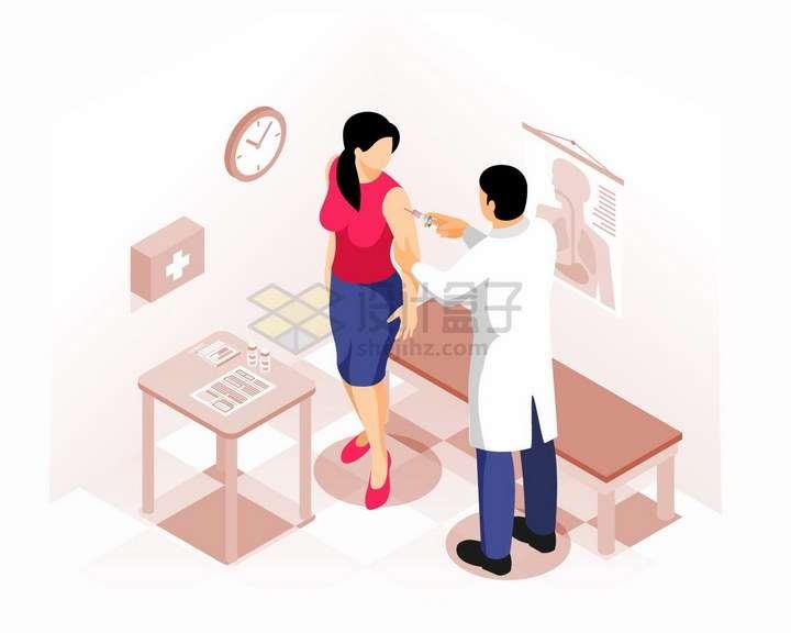 2.5D风格医院医生在病人手臂上打针接种疫苗png图片免抠矢量素材