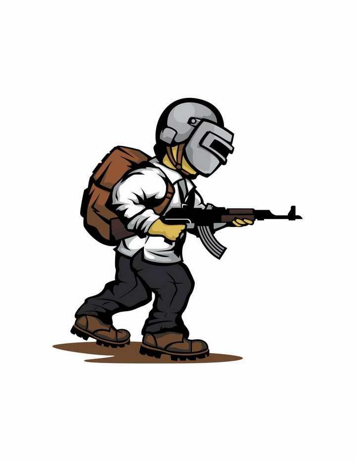 卡通漫画风格端着枪的PUBG绝地求生三级头吃鸡游戏png图片免抠矢量素材