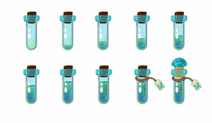 10种卡通游戏中的绿色药水瓶试管png图片免抠矢量素材