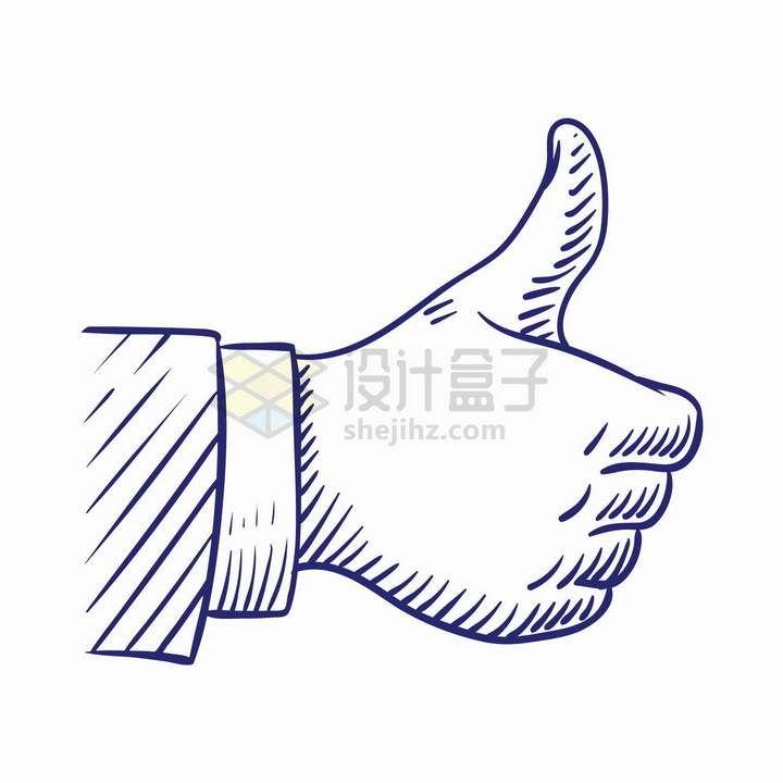 竖起大拇指点赞手绘线条插画png图片免抠矢量素材
