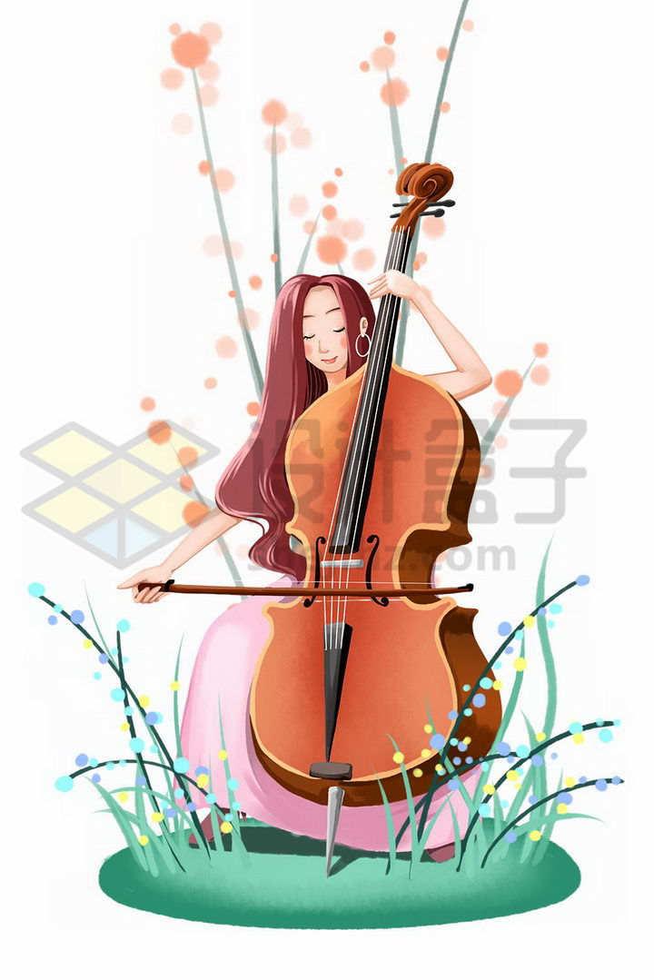 拉大提琴的卡通文艺女青年插画png图片免抠素材