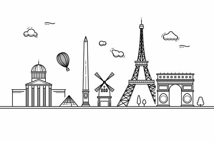 黑色线条手绘风格巴黎城市建筑知名旅游城市天际线png图片免抠素材