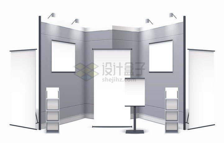 空白的银灰色展厅展台和易拉宝png图片免抠矢量素材
