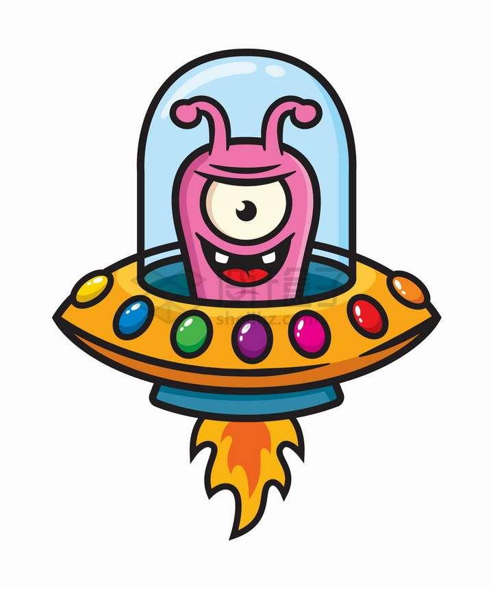可爱卡通外星人驾驶着彩色飞碟png图片免抠矢量素材